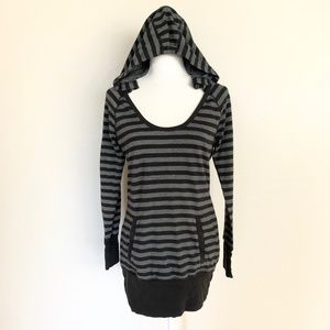 ❤Express Black & Grey Long Pullover Hoodie Sweater